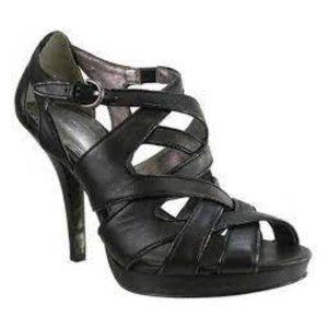 Coach Aenya Strappy Black Leather Platform Heels
